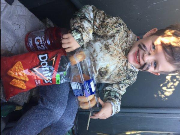 Charlie first hunt snacks.JPG